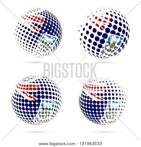 Falklands Halftone Flag Set Patriotic Vector Design. 3D Halftone Sphere In Falklands National Flag C
