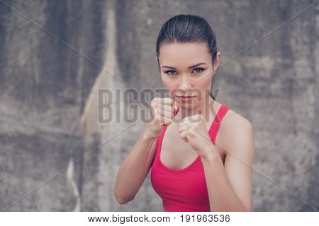 Woman Power, Self Defence Concept. Close Up Portrait Of Attractive Serious Fit Boxer, Ready For Figh