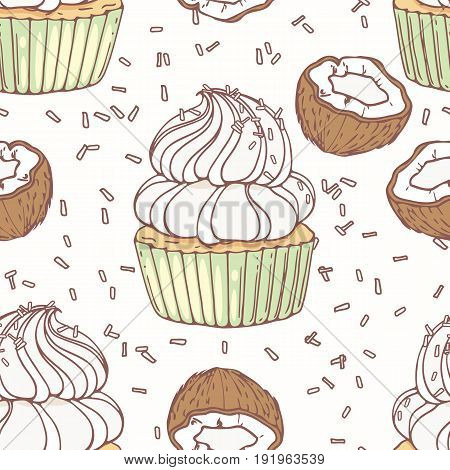 Hand drawn seamless pattern with doodle cupcake, coconut and buttercream. Food background. Vector illustration