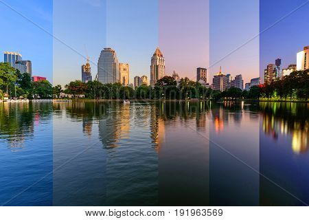 Different shade shot in same frame of lake view in city