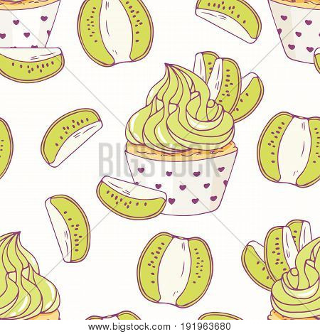Hand drawn seamless pattern with doodle cupcake and kiwi buttercream. Food background. Vector illustration