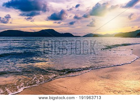 Beach Sunset Or Sunrise In Twilight With Sky And Cloud