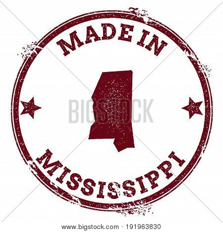 Mississippi Vector Seal. Vintage Usa State Map Stamp. Grunge Rubber Stamp With Made In Mississippi T