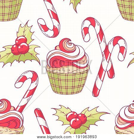Hand drawn seamless pattern with doodle christmas cupcake, holly, candy cane and buttercream. Food background. Vector illustration