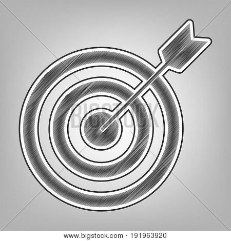 Target with dart. Vector. Pencil sketch imitation. Dark gray scribble icon with dark gray outer contour at gray background.