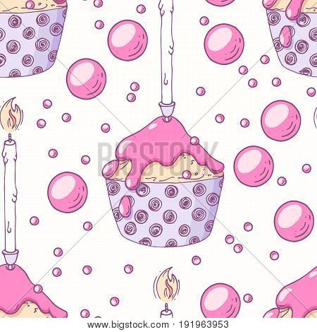 Hand drawn seamless pattern with doodle cupcake, birthday candle and buttercream. Food background. Vector illustration