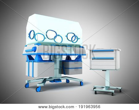 Incubator For Children Blue Front 3D Rendering On Gray Background