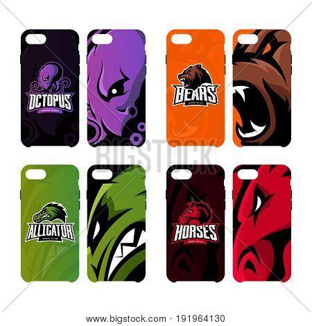 Furious octopus, bear, alligator and horse sport vector logo concept smart phone case. Modern professional team badge. Premium quality wild animal artwork cell phone cover illustration design.