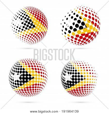 Timor-leste Halftone Flag Set Patriotic Vector Design. 3D Halftone Sphere In Timor-leste National Fl