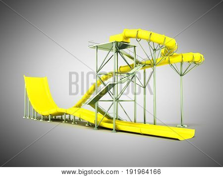 Aqua Park Water Carousel Yellow 3D Render On Gray Background