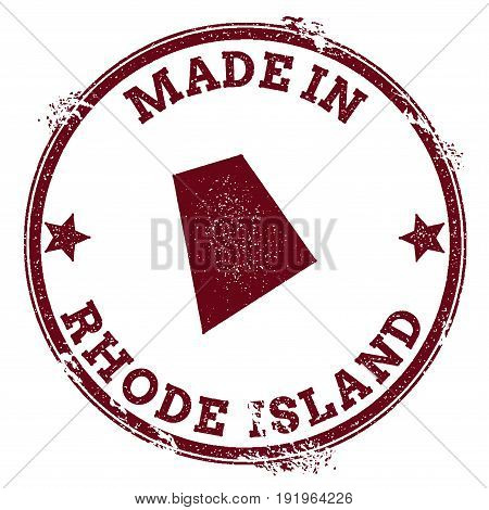 Rhode Island Vector Seal. Vintage Usa State Map Stamp. Grunge Rubber Stamp With Made In Rhode Island