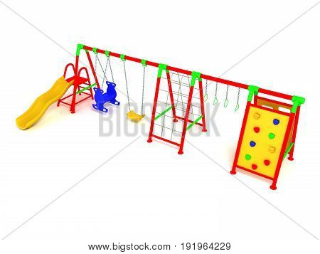 Children's Playground Red 3D Render On White Background