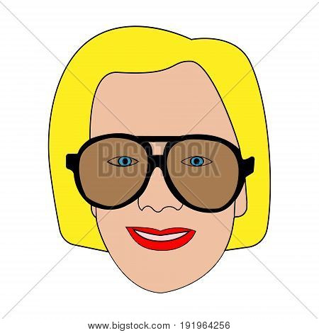 Vector illustration of a female smiling face in a facial with dark glasses red lips blue eyes and yellow hair drawn contour lines on a white background
