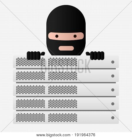 Head of the ransomware and server rack. Virus encryptor. Editable eps10 Vector. Transparent background.