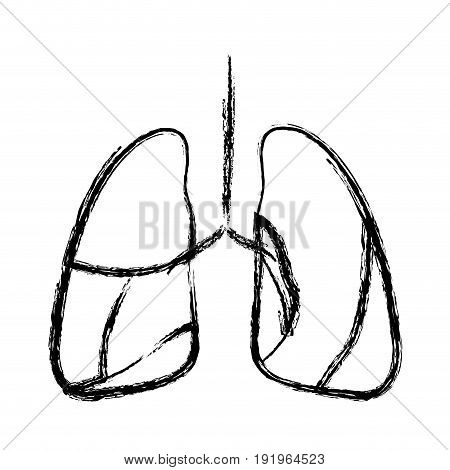 blurred hand drawing contour respiratory system vector illustration