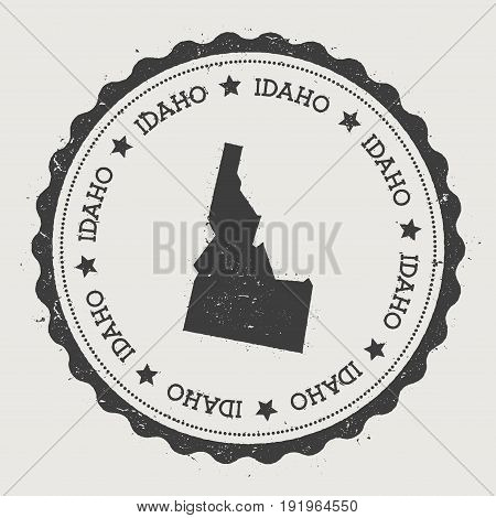 Idaho Vector Sticker. Hipster Round Rubber Stamp With Us State Map. Vintage Passport Stamp With Circ