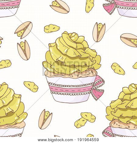 Hand drawn seamless pattern with doodle cupcake and pistachio buttercream. Food background. Vector illustration