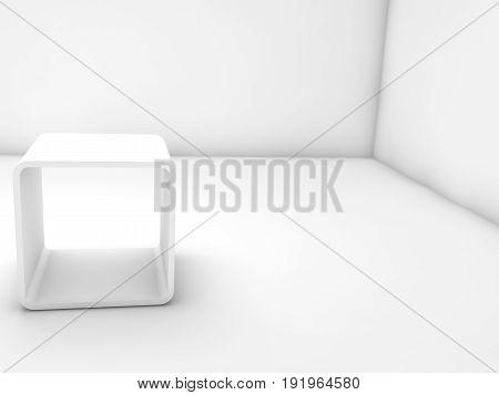 White Exhibition Stand In Blank Interior, 3 D Render