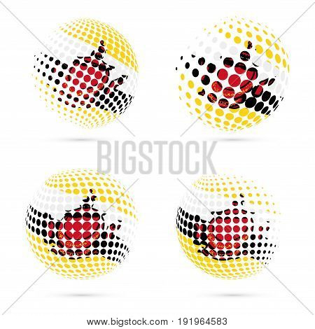 Brunei Halftone Flag Set Patriotic Vector Design. 3D Halftone Sphere In Brunei National Flag Colors