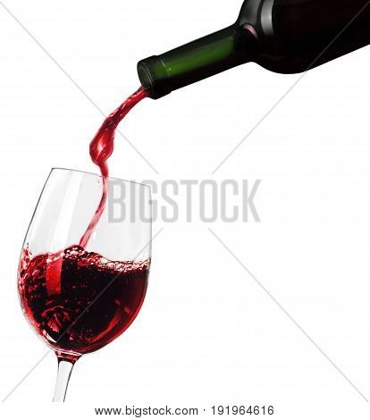 Red glass wine pour bar color image
