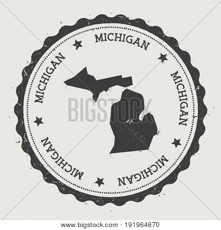 Michigan Vector Sticker. Hipster Round Rubber Stamp With Us State Map. Vintage Passport Stamp With C