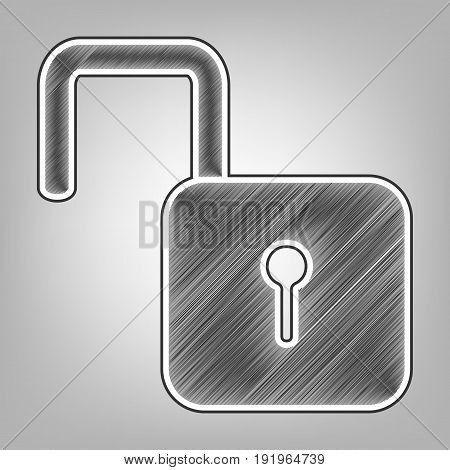 Unlock sign illustration. Vector. Pencil sketch imitation. Dark gray scribble icon with dark gray outer contour at gray background.