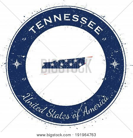 Tennessee Circular Patriotic Badge. Grunge Rubber Stamp With Usa State Flag, Map And The Tennessee W