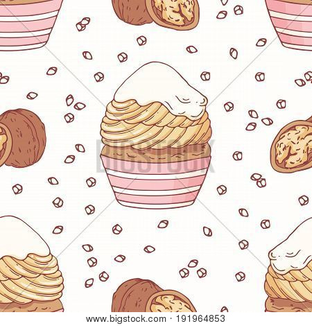 Hand drawn seamless pattern with doodle cupcake, walnut and buttercream. Food background. Vector illustration