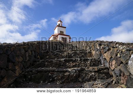 Church of Frontera, Candelaria, stairs to sky, Spain, El Hierro