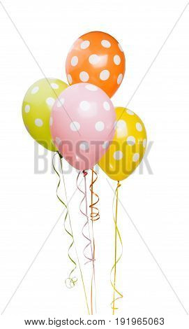 Beautiful helium balloons on a white background