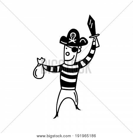 Children play pirates. cartoon character . Vector Illustration.