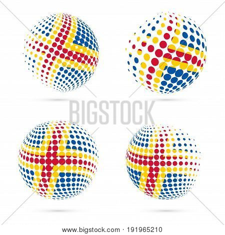 Aland Halftone Flag Set Patriotic Vector Design. 3D Halftone Sphere In Aland National Flag Colors Is
