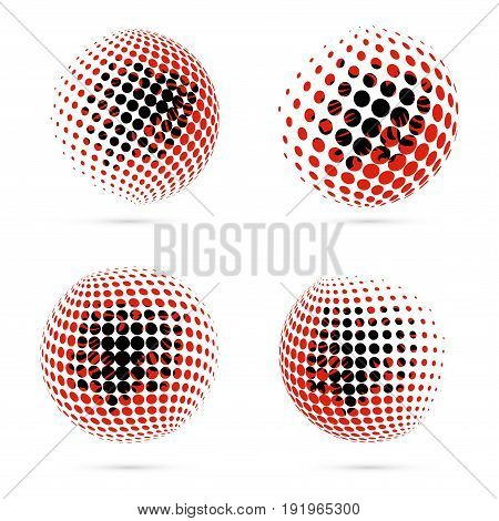 Albania Halftone Flag Set Patriotic Vector Design. 3D Halftone Sphere In Albania National Flag Color