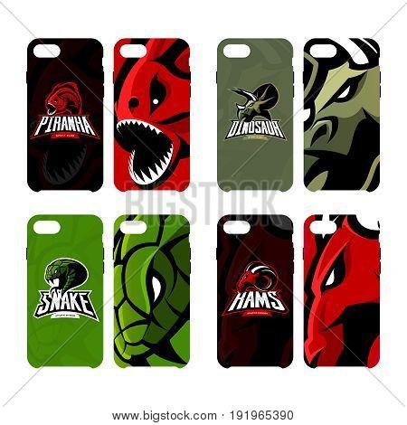 Furious piranha, ram, snake and dinosaur sport vector logo concept smart phone case. Modern professional mascot team badge. Premium quality wild animal artwork cell phone cover illustration design.
