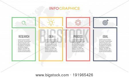 Business infographics. Presentation with 4 columns, options. Vector template.