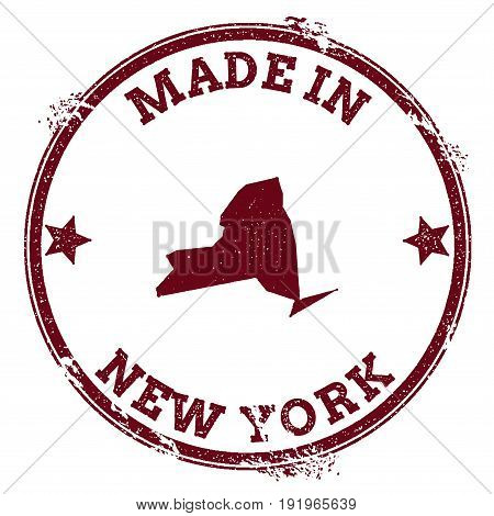 New York Vector Seal. Vintage Usa State Map Stamp. Grunge Rubber Stamp With Made In New York Text An
