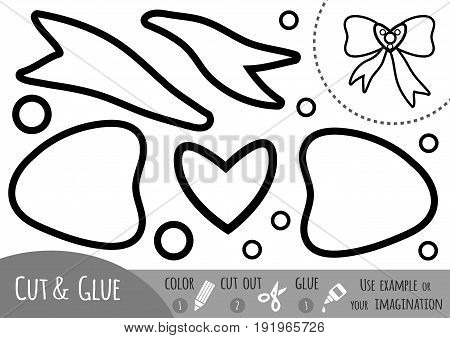 Education paper game for children Bow. Use scissors and glue to create the image.