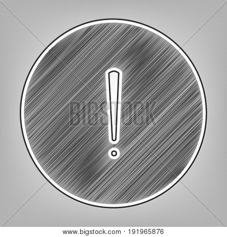 Exclamation mark sign. Vector. Pencil sketch imitation. Dark gray scribble icon with dark gray outer contour at gray background.