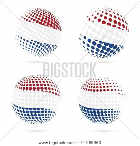 Bes Islands Halftone Flag Set Patriotic Vector Design. 3D Halftone Sphere In Bes Islands National Fl