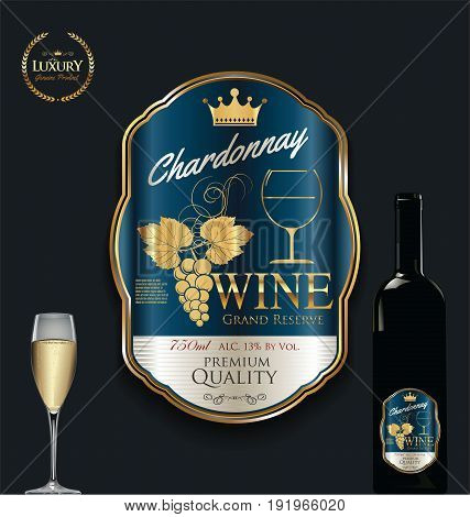 Luxury Golden Wine Label Vector Illustration 7.eps
