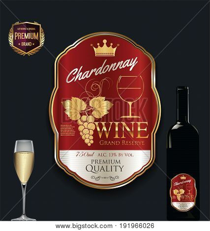 Luxury Golden Wine Label Vector Illustration 6.eps