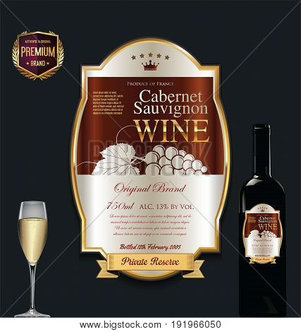 Luxury Golden Wine Label Vector Illustration 4.eps