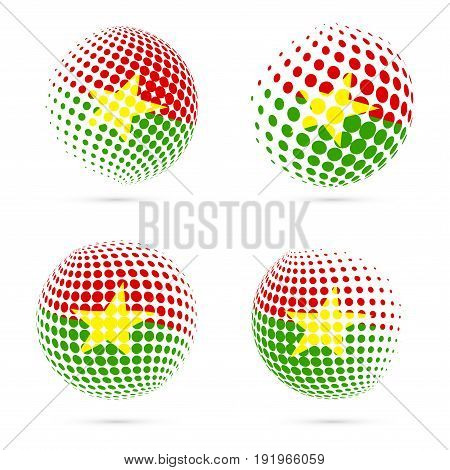 Burkina Faso Halftone Flag Set Patriotic Vector Design. 3D Halftone Sphere In Burkina Faso National