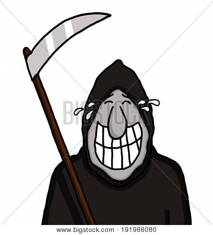 Grim reaper holding a blade and grinning