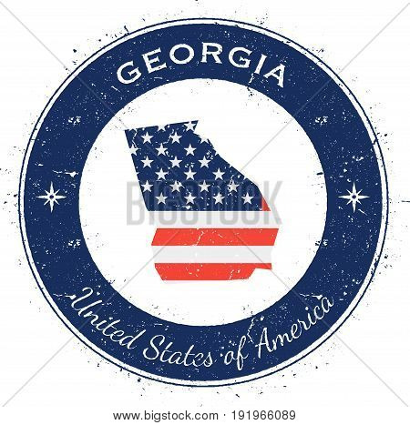Georgia Circular Patriotic Badge. Grunge Rubber Stamp With Usa State Flag, Map And The Georgia Writt