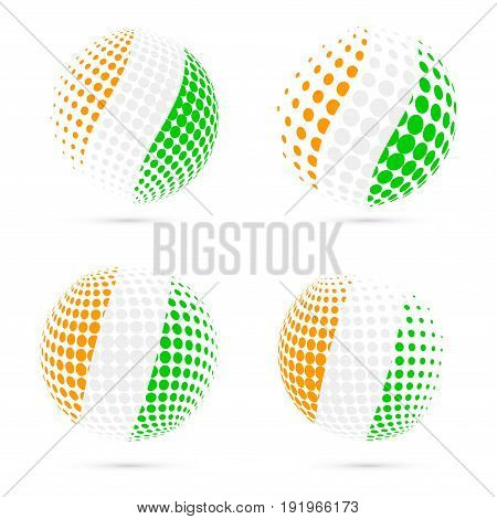 Ivory Coast Halftone Flag Set Patriotic Vector Design. 3D Halftone Sphere In Ivory Coast National Fl