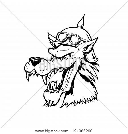 wolf head . Animal cartoon character . Vector Illustration.