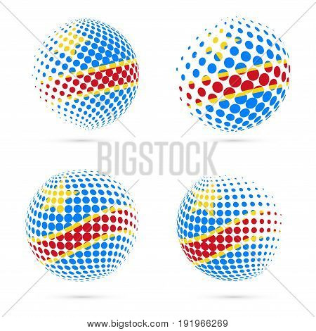 Dr Congo Halftone Flag Set Patriotic Vector Design. 3D Halftone Sphere In Dr Congo National Flag Col