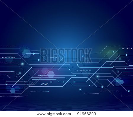 Abstract circuit board on the blue background. Digital technology communication concept. Hi-tech vector illustration