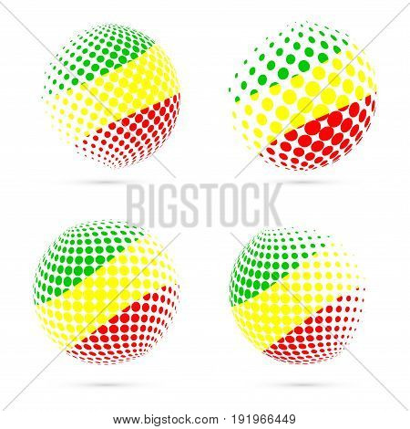 Congo Halftone Flag Set Patriotic Vector Design. 3D Halftone Sphere In Congo National Flag Colors Is